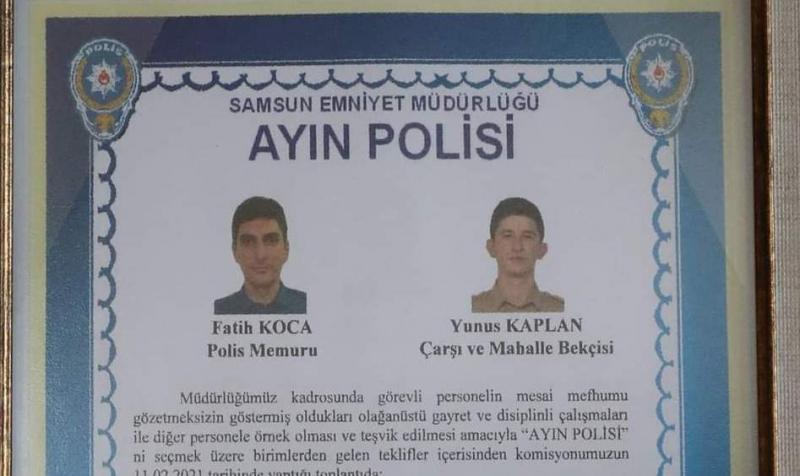 """KÖPEKLERİ KURTARAN POLİS İLE BEKÇİ """"AYIN POLİSİ"""" SEÇİLDİ"""